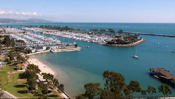 Aerial view of Dana Point, CA.